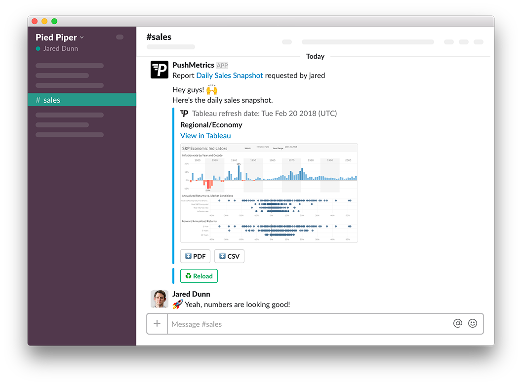 Screenshot PushMetrics Tableau to Slack Integration